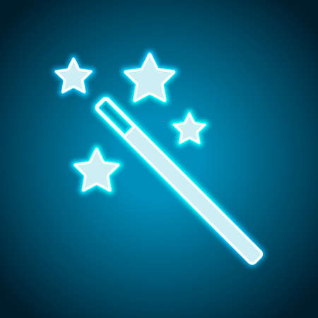 magic wand with stars. simple silhouette. Neon style. Light decoration icon. Bright electric symbol Standard-Bild - 121821651
