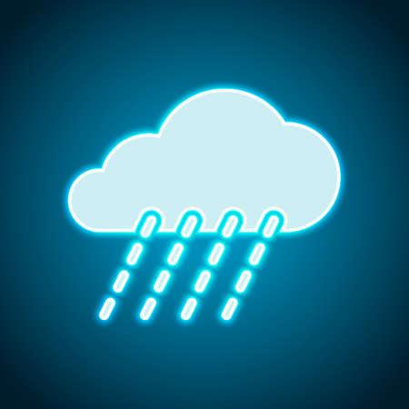 rain, weather icon. Neon style. Light decoration icon. Bright electric symbol