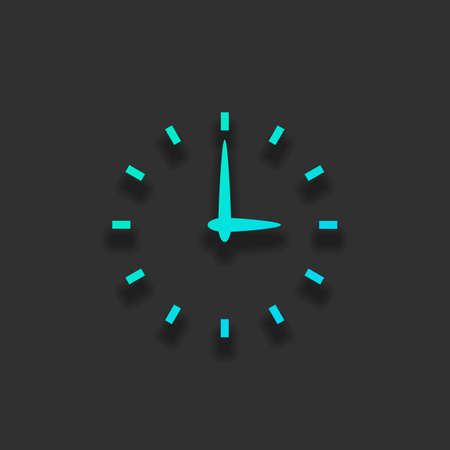 Simple icon of clock. Colorful logo concept with soft shadow on dark background. Icon color of azure ocean