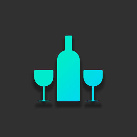 glasses and bottle. Colorful logo concept with soft shadow on dark background. Icon color of azure ocean