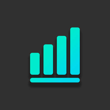 Growing graph line icon. Colorful logo concept with soft shadow on dark background. Icon color of azure ocean