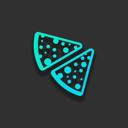 pieces of pizza icon. Colorful logo concept with soft shadow on dark background. Icon color of azure ocean