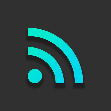 RSS icon. Colorful logo concept with soft shadow on dark background. Icon color of azure ocean Ilustrace