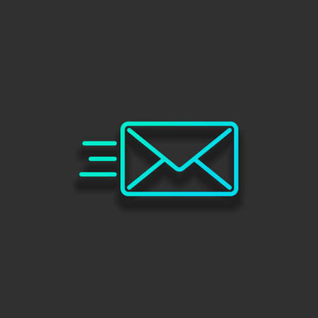 send mail icon. sms line. Colorful logo concept with soft shadow on dark background. Icon color of azure ocean