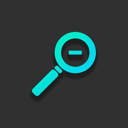 Zoom out icon. Colorful logo concept with soft shadow on dark background. Icon color of azure ocean