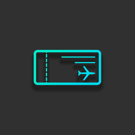 airplane ticket icon. Colorful logo concept with soft shadow on dark background. Icon color of azure ocean