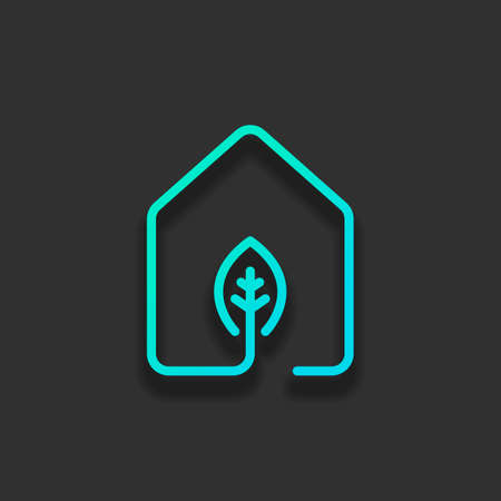 house with eco leaf icon. line style. Colorful logo concept with soft shadow on dark background. Icon color of azure ocean