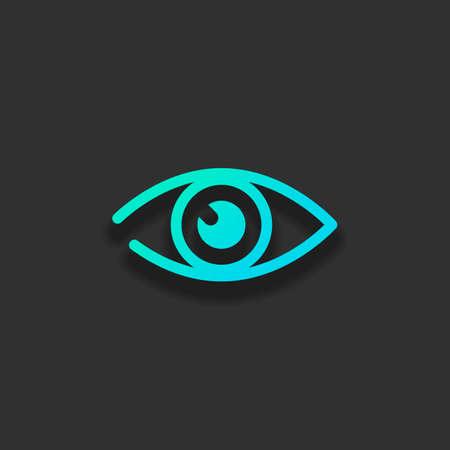 シンプルな目のアイコン。暗い背景に柔らかい影を持つカラフルなロゴコンセプト。アズールオーシャンのアイコンカラー