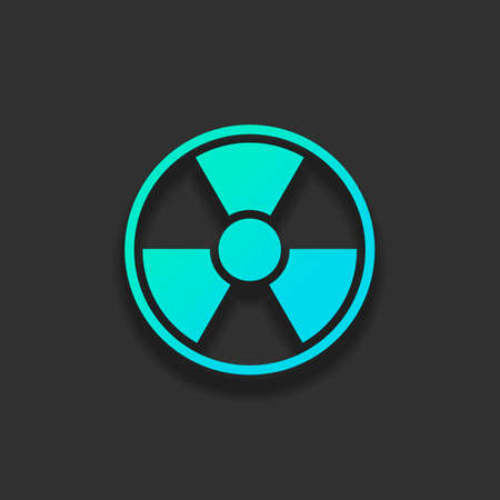 hazard, radiation. simple silhouette. Colorful logo concept with soft shadow on dark background. Icon color of azure ocean