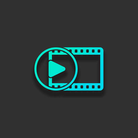 movie strip with play symbol in circle. simple silhouette. Colorful logo concept with soft shadow on dark background. Icon color of azure ocean