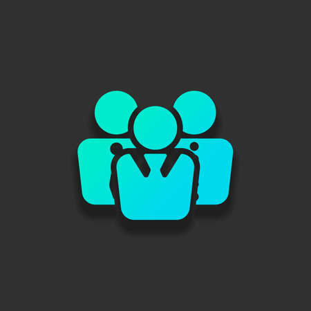 office people, team. Colorful logo concept with soft shadow on dark background. Icon color of azure ocean