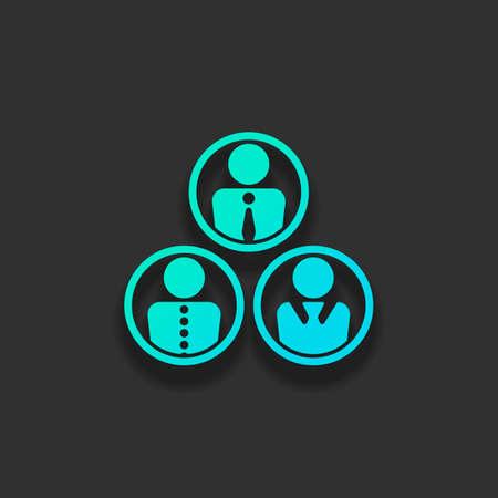 オフィスの人々、チーム。暗い背景に柔らかい影を持つカラフルなロゴコンセプト。アズールオーシャンのアイコンカラー