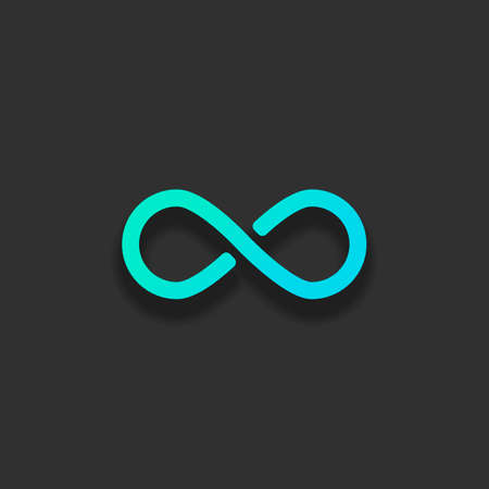 infinity symbol, simple icon. Colorful logo concept with soft shadow on dark background. Icon color of azure ocean Illustration