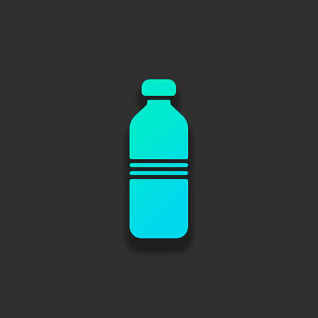 水のボトル、シンプルなアイコン。暗い背景に柔らかい影を持つカラフルなロゴコンセプト。アズールオーシャンのアイコンカラー