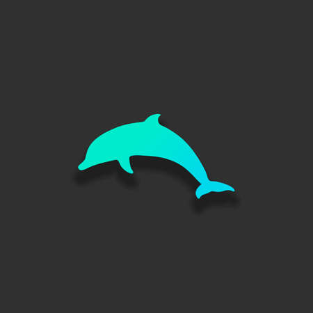 silhouette of dolphin. Colorful logo concept with soft shadow on dark background. Icon color of azure ocean