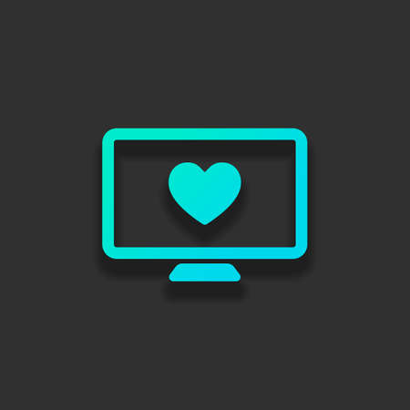 computer and heard. simple icon. Colorful logo concept with soft shadow on dark background. Icon color of azure ocean