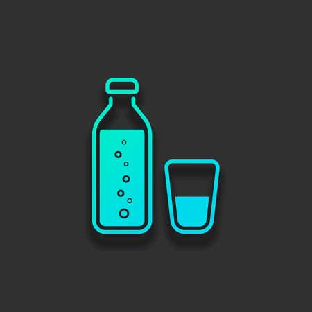 泡とガラスコップと水のボトル。シンプルなアイコン。暗い背景に柔らかい影を持つカラフルなロゴコンセプト。アズールオーシャンのアイコンカラー