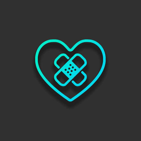 broken heart with patch. simple single icon. Colorful logo concept with soft shadow on dark background. Icon color of azure ocean Illustration