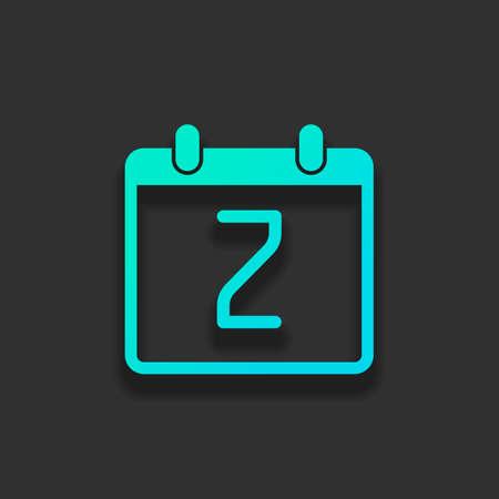2日、シンプルなアイコンを持つカレンダー。暗い背景に柔らかい影を持つカラフルなロゴコンセプト。アズールオーシャンのアイコンカラー