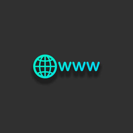 symbol of internet with globe and www. Colorful logo concept with soft shadow on dark background. Icon color of azure ocean