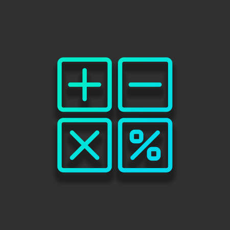 simple icon of calculator. Colorful logo concept with soft shadow on dark background. Icon color of azure ocean