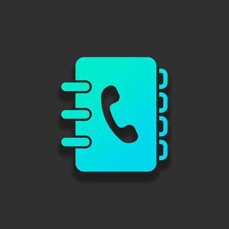 address book with phone sign on cover. simple icon. Colorful logo concept with soft shadow on dark background. Icon color of azure ocean Ilustrace