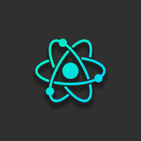 scientific atom symbol, simple icon. Colorful logo concept with soft shadow on dark background. Icon color of azure ocean