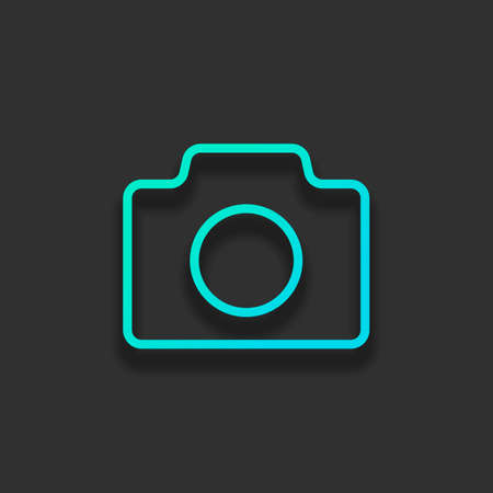 Photo camera, linear symbol with thin outline, simple icon. Colorful logo concept with soft shadow on dark background. Icon color of azure ocean