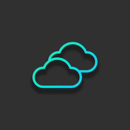 Mostly cloudy icon. Simple linear icon with thin outline. Colorful logo concept with soft shadow on dark background. Icon color of azure ocean