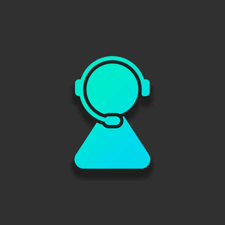 customer service. support service. simple icon. Colorful logo concept with soft shadow on dark background. Icon color of azure ocean
