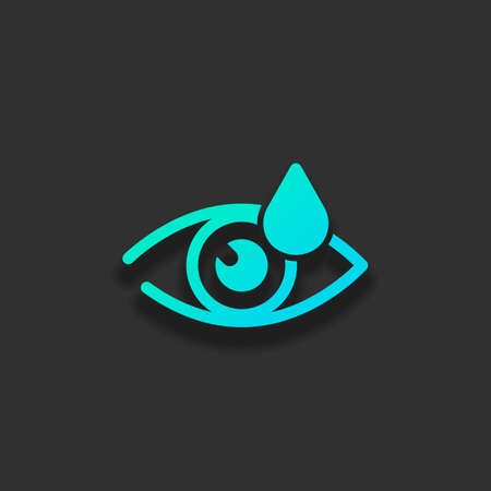 Eye and drop. Simple icon. Colorful logo concept with soft shadow on dark background. Icon color of azure ocean