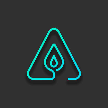 fire flame in warning triangle. linear symbol with thin outline. one line style. simple icon. Colorful logo concept with soft shadow on dark background. Icon color of azure ocean