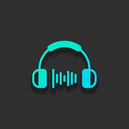 Casque et vague de musique. Niveau de volume moyen. Icône simple. Concept de logo coloré avec une ombre douce sur fond sombre. Couleur de l'icône de l'océan azur Logo