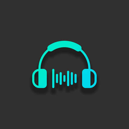 Headphones and music wave. Medium volume level. Simple icon. Colorful logo concept with soft shadow on dark background. Icon color of azure ocean