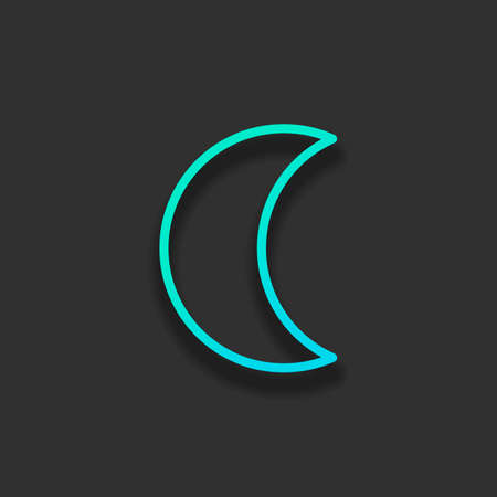 Simple moon. Weather symbol. Linear icon with thin outline. Colorful logo concept with soft shadow on dark background. Icon color of azure ocean Logo