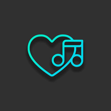 Heard and note, Favourite music. Linear icon with thin outline. Colorful logo concept with soft shadow on dark background. Icon color of azure ocean