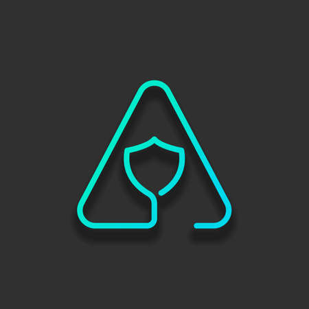 Shield in warning triangle. Problem with protect. Linear icon with thin outline. One line style. Colorful logo concept with soft shadow on dark background. Icon color of azure ocean