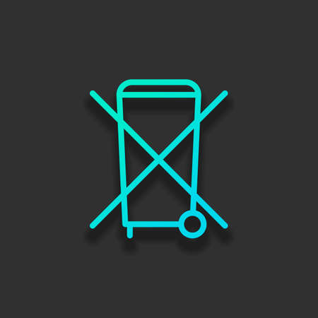 No trash bin, crossed litter. Linear icon with thin outline. Colorful logo concept with soft shadow on dark background. Icon color of azure ocean