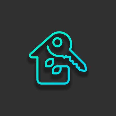 鍵付きの家。細いアウトラインを持つ線形アイコン。1 つの線のスタイル。暗い背景に柔らかい影を持つカラフルなロゴコンセプト。アズールオーシャンのアイコンカラー