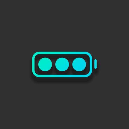 シンプルなバッテリー、フルレベル。暗い背景に柔らかい影を持つカラフルなロゴコンセプト。アズールオーシャンのアイコンカラー