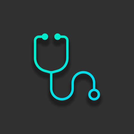 Simple stethoscope icon. Linear, thin outline. Colorful logo concept with soft shadow on dark background. Icon color of azure ocean