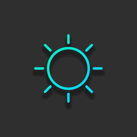 Sun icon. Linear, thin outline. Colorful logo concept with soft shadow on dark background. Icon color of azure ocean