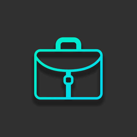 Briefcase, office bag. Colorful logo concept with soft shadow on dark background. Icon color of azure ocean 일러스트