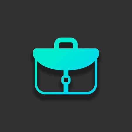 Briefcase, office bag. Colorful logo concept with soft shadow on dark background. Icon color of azure ocean Illustration