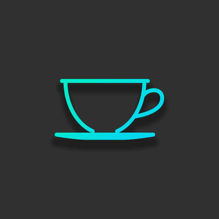 Simple cup of coffee or tea. Linear icon, thin outline. Colorful logo concept with soft shadow on dark background. Icon color of azure ocean Фото со стока - 106797472