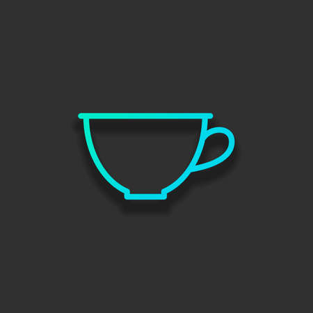 Simple cup of coffee or tea. Linear icon, thin outline. Colorful logo concept with soft shadow on dark background. Icon color of azure ocean