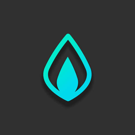 Simple fire flame icon. Colorful logo concept with soft shadow on dark background. Icon color of azure ocean