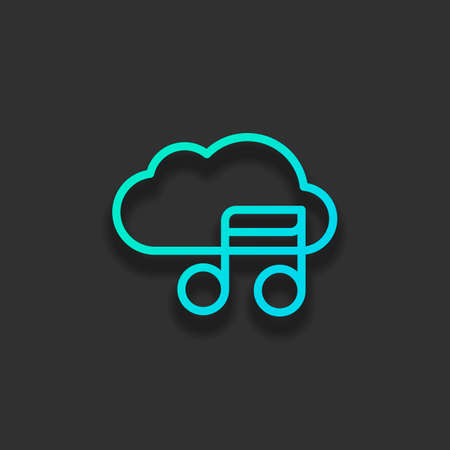 Simple icon with cloud and musical note. Linear symbol, thin outline. Colorful logo concept with soft shadow on dark background. Icon color of azure ocean