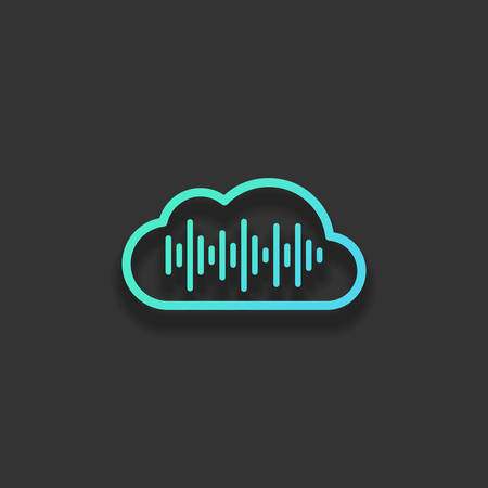 Simple icon with cloud and sound equalizer wave. Thin outline. Colorful logo concept with soft shadow on dark background. Icon color of azure ocean Illustration