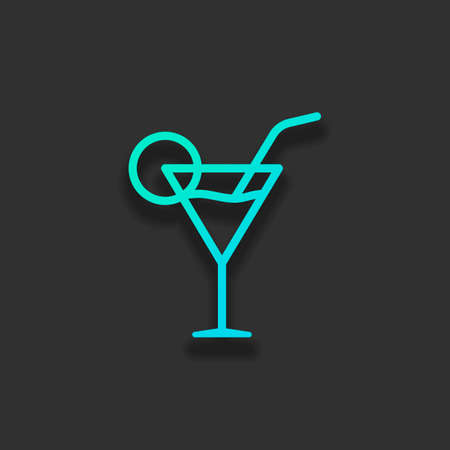 Coctail glass. Simple linear icon with thin outline. Colorful logo concept with soft shadow on dark background. Icon color of azure ocean Stock Illustratie